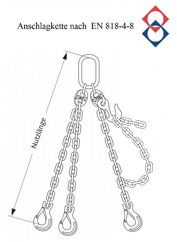 Anschlagkette, verzinkt, 3-Strang