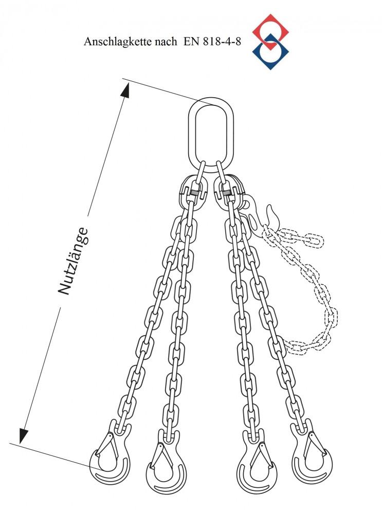 Anschlagkette, verzinkt, 4-Strang